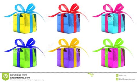 Set Of Six Various Color Glossy Gift Wrapped Presents