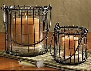 Fish Camp Wire Pillar & Votive Candle Holders