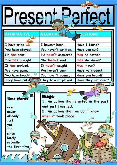 chartpresent perfect tense worksheet  esl printable