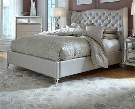 Aico Hollywood Loft Frost Upholstered Platform Bed