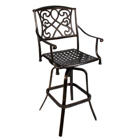 outdoor cast aluminum swivel bar stool patio furniture