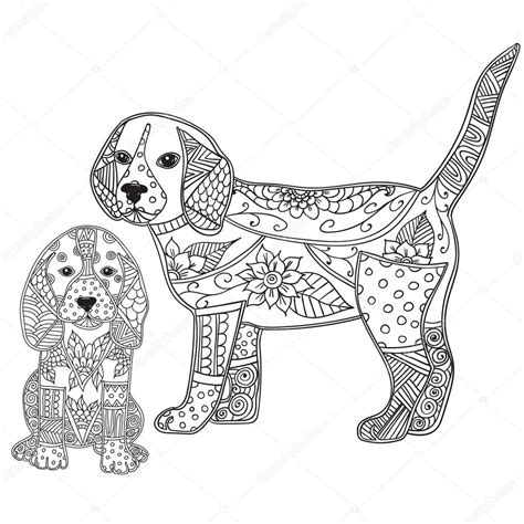 dog  puppy adult antistress  children coloring page