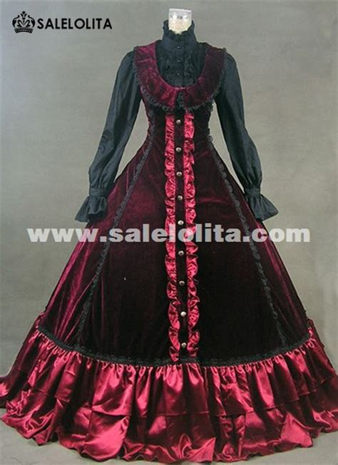 elegant wine red medieval victorian dress masquerade ball