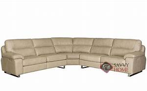 Ivan power reclining leather true sectional sofa with down for Sectional sofa down cushions
