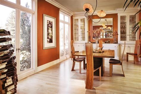 burnt orange wall paint Living Room Contemporary with