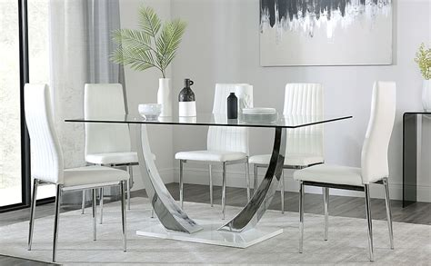 6 chair and 1 table. Peake Glass and Chrome Dining Table (White Gloss Base ...