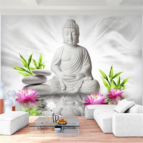 vliestapete für schlafzimmer fototapeten buddha blumen 352 x 250 cm vlies wand tapete