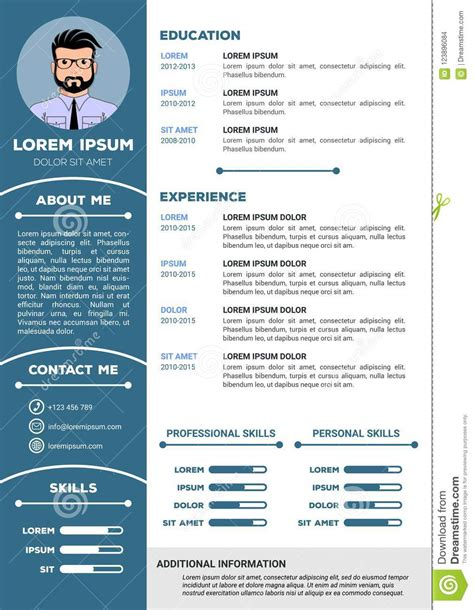 resume  cv template  nice design stock vector