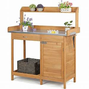 Outdoor, Garden, Potting, Bench, Table, Planting, Work, Benches, Cabinet, Shelf, Outside