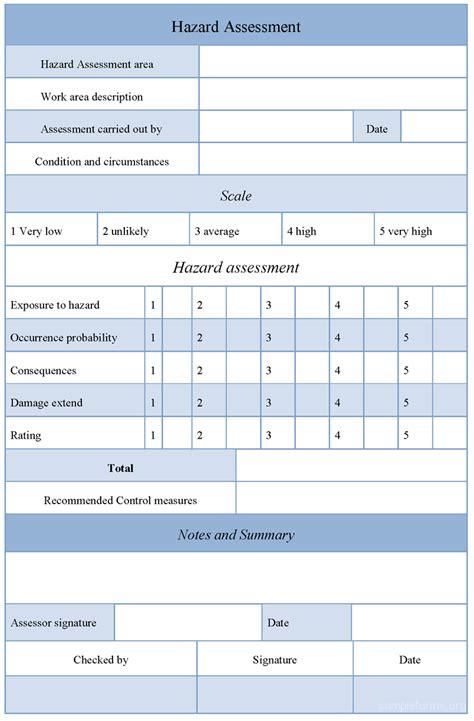 hazard assessment template hazard assessment form sle forms