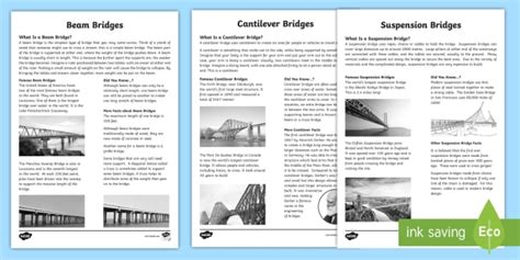 * New * Cfe Types Of Bridges Fact Sheets  Suspension, Beam, Cantilever