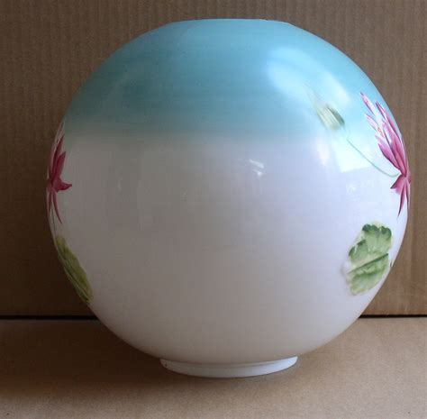 antique hand painted embossed lotus oil lamp ball shade