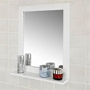 Meuble Mural Salle De Bain : sobuy frg129 w miroir mural meuble salle de bain avec 1 tage plateau l40xp10xh49cm blanc ~ Teatrodelosmanantiales.com Idées de Décoration