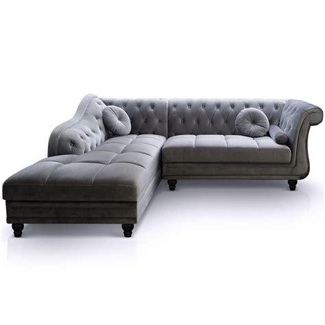 canapé velours gris canapé d 39 angle droit en velours gris chesterfield