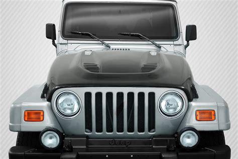 jeep hood new carbon creations dritech hood 97 06 jeep wrangler