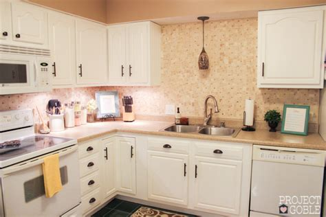 white cabinets with white appliances kitchen transformation white cabinets amp painted counters 652 | Kitchen After 7