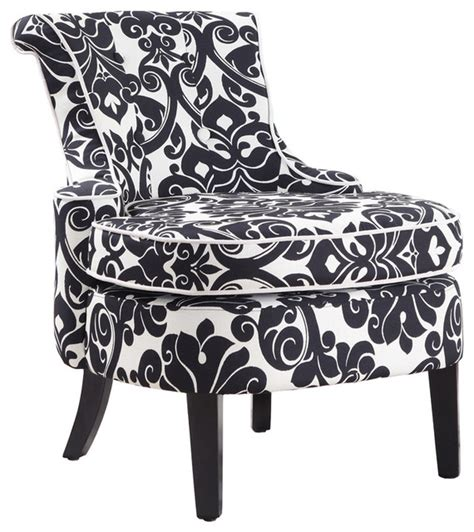 powell diana arm accent chair in black and white floral