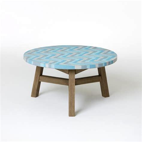 Mosaic Tiled Coffee Table, Aqua Glass  Modern Outdoor