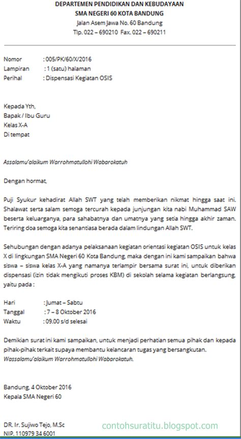 Contoh Surat Permintaa by Contoh Surat Dispensasi Kerja Yang Benar