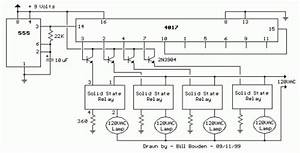 120vac lamp chaser circuit diagram and instructions With 120vac or 240vac powered leds circuit diagram