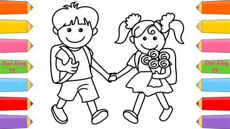 school girl  boy coloring pages   draw