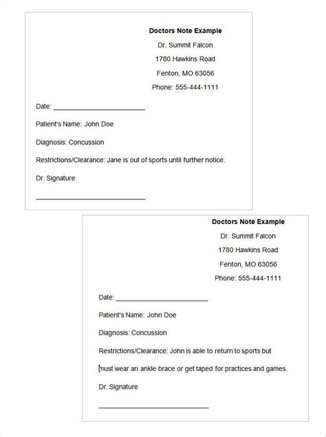 dr note doctors note template doctors note notes template