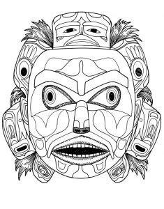 coloring kwakiutl bear spirit mask | Native american masks, Adult coloring pages, Art