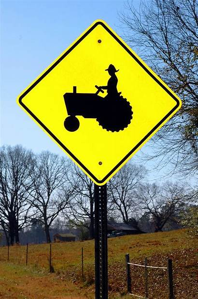 Sign Tractor Crossing Farm Domain Safety