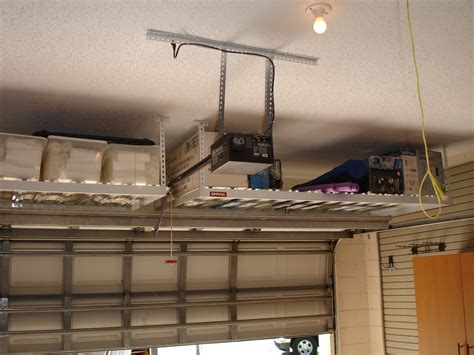 custom overhead garage ceiling storage rack shelves for small garage with high ceiling ideas