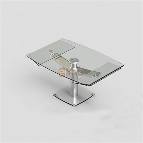table de cuisine en verre avec rallonge table repas moderne extensible pied acier verre