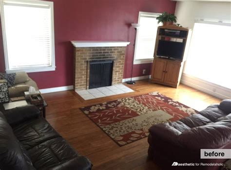 Living Room With Burgundy Rug by Remodelaholic Real Rooms Neutral Living Room With