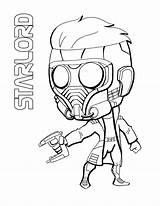 Coloring Lord Chibi Star Starlord Pages Galaxy Guardians Printable Cartoon Fortnite Drawing Wars Marvel Heroes Sheets Superhero Fusion Spiderman Super sketch template