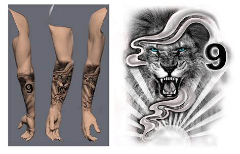 lion forearm  sleeve blackwhite tattoo concept