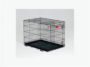a medium sized black wire dog crate iron bridge outside With medium size dog crate