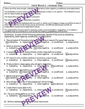 verb mood a common worksheet by mastering middle school tpt
