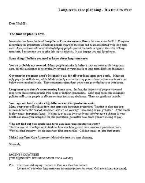 Sample Long Term Care Letters -Dataman Group Direct