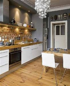 Cuisine Blanche Plan De Travail Bois : cuisine blanche et grise et plan travail en bois ~ Preciouscoupons.com Idées de Décoration