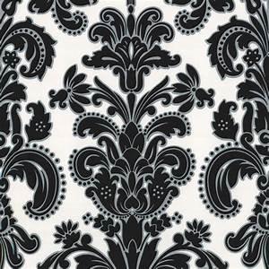 Erismann Regal Damask Wallpaper Black / White (9698