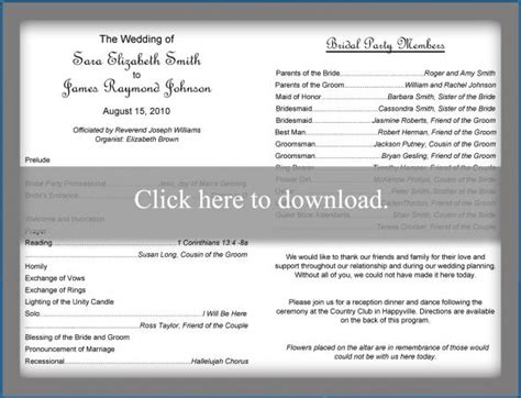 traditional wedding program template lovetoknow