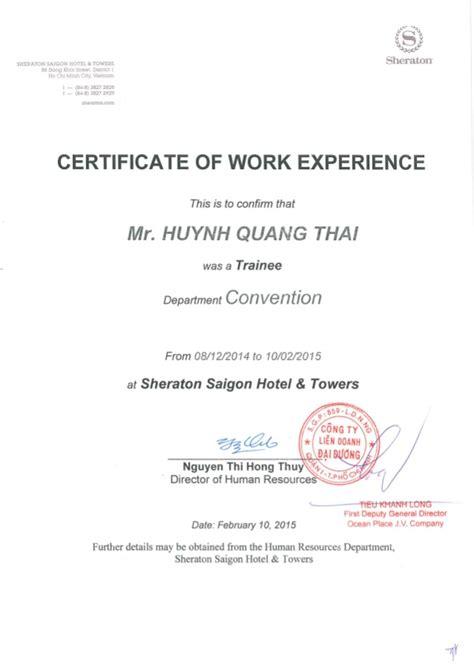 sheraton work experience certificate