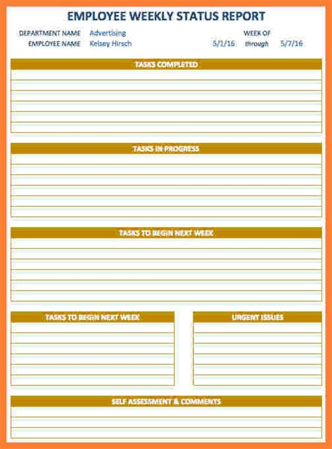 employee weekly status report template progress report