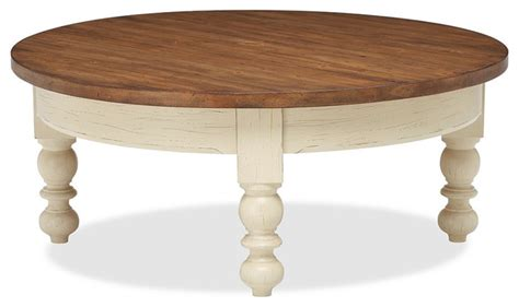 Round Wooden Coffee Table With