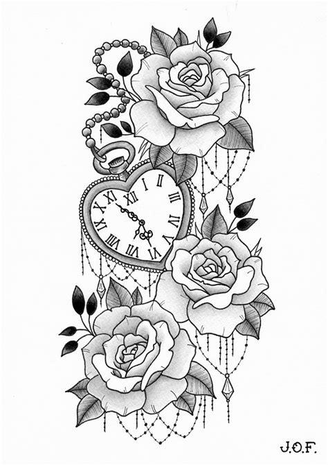 roses  heart shaped clock  tattoooo tatuointi