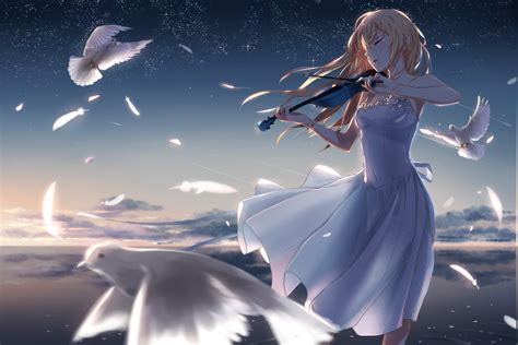 Anime Violin Wallpaper - white dress hair tears birds feathers flower