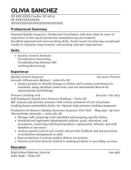 Quality Inspector Resume by Assurance Quality Aqg Quality Inspector