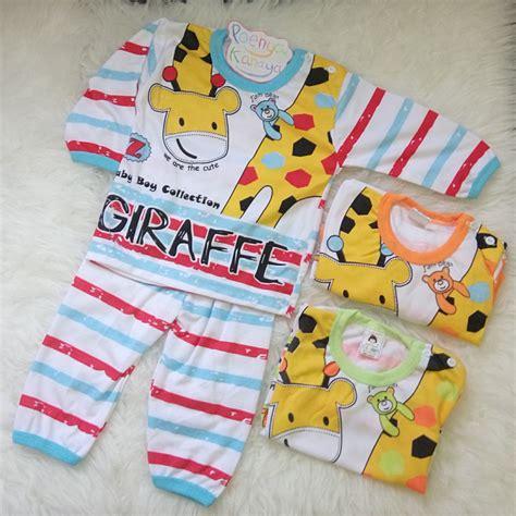 gpy01 3pc setelan baju panjang bayi giraffe jerapah piyama baju tidur shopee indonesia