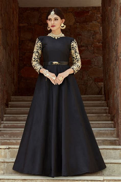 indian dress black color indo western gown