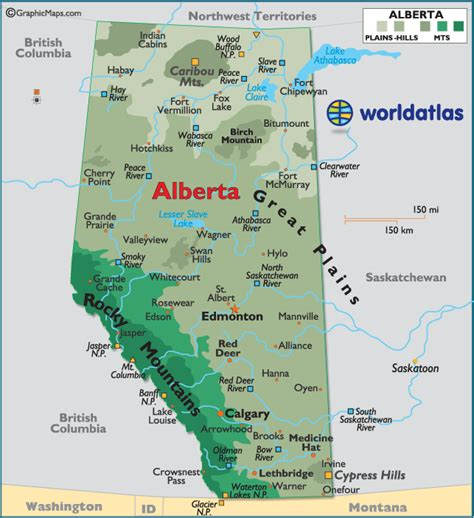 alberta canada large color map