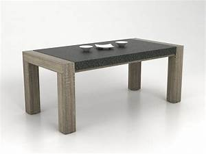 Table Manger METEORITE MDF Plateau Effet Granite