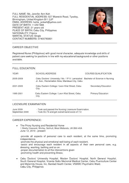 Resume Template For Nurses by Resume Nurses Sle Sle Resumes Sle Resumes